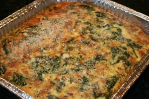 "Bake at 350 degrees for 45 minutes or until frittata starts to brown around the edges.  Note that this eggs will ""rise"" significantly during the cooking process."